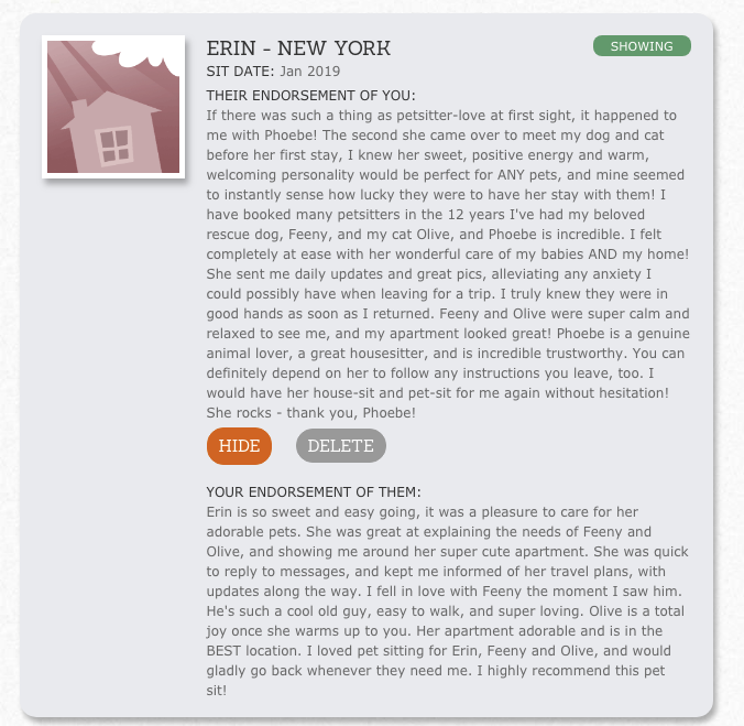 Review House Sit America Erin