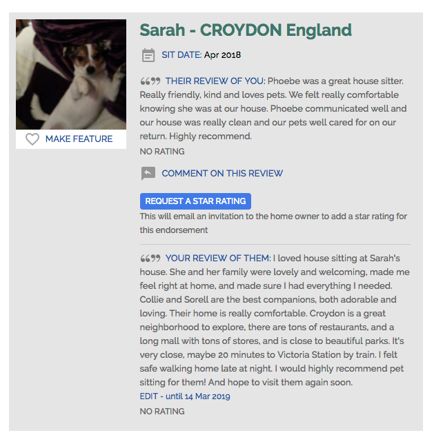 Review house sitters uk Sarah